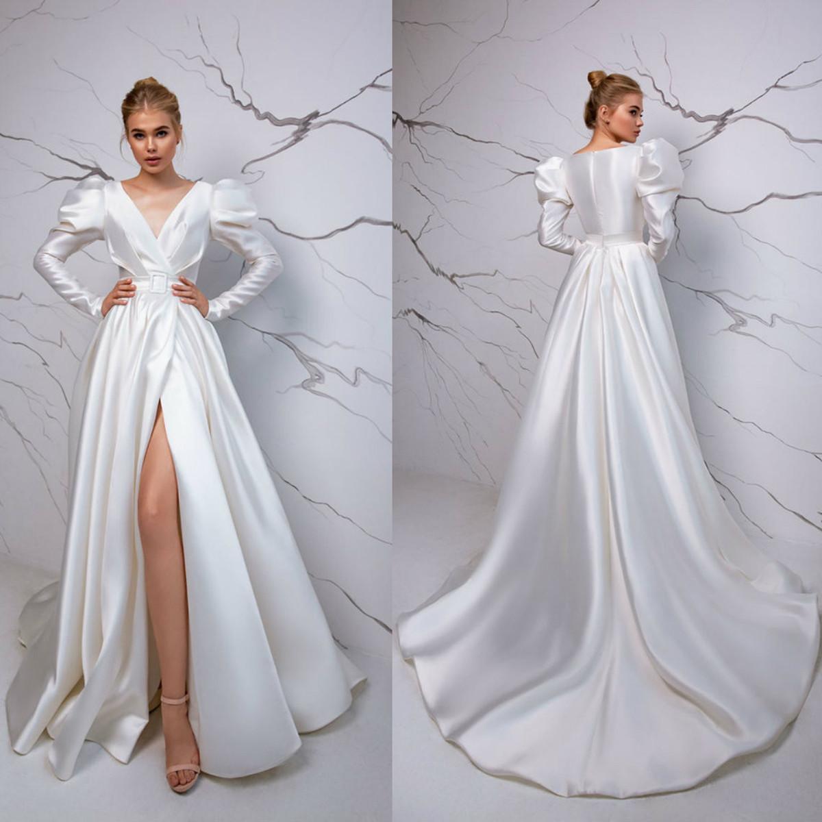 Plus Size Elegant Bohemian A Linha do casamento Vestidos V Neck mangas compridas High Side Dividir vestidos de noiva Trem da varredura Vestido de Noiva Vestidos