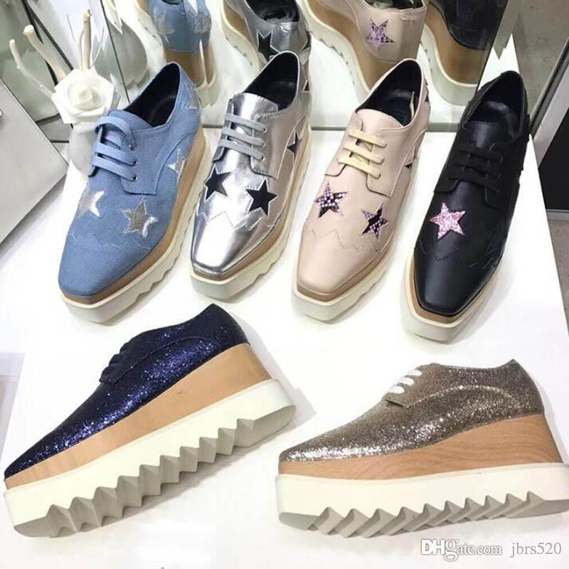 luxury Designer Leather platform woman shoes Bandage Thick soled casual shoes Stars Soft cowhide Square headed High heeled Slope heel shoes