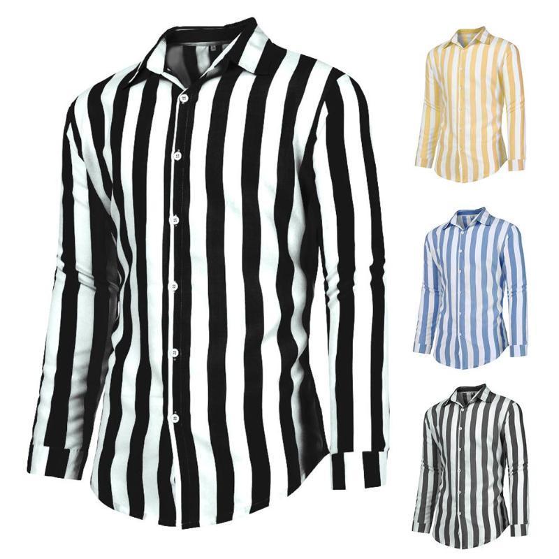 Moda masculina listra branca preta frouxa camisa de manga longa lapela Casual Shirt Tamanho Masculino Vestuário Comfort Top Além disso,