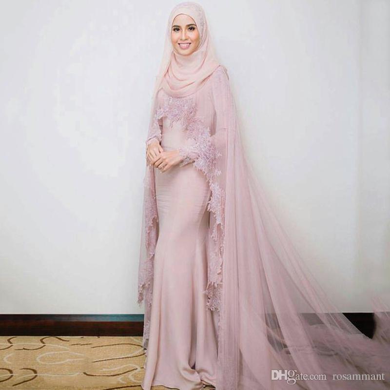 Muslim Evening Dresses 2019 Mermaid Long Sleeves Appliques Lace Formal Scarf Islamic Dubai Kaftan Saudi Arabic Long Evening Gown