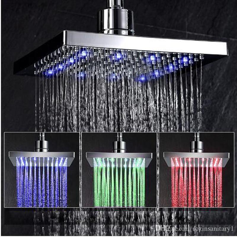 Livraison gratuite en gros et au détail LED de couleur Changement de pluie Pomme de douche rectangulaire cascade Pomme de douche