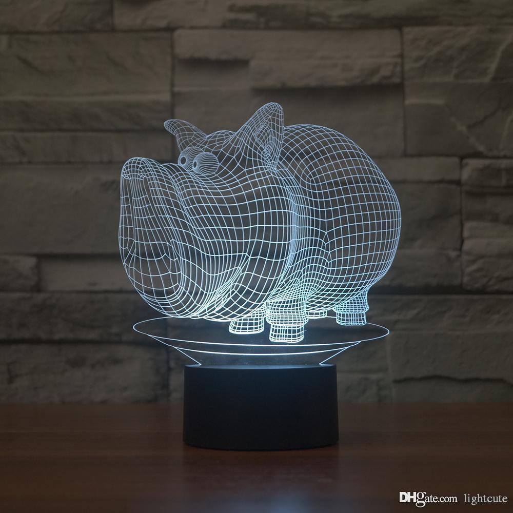 Ilusión jabalí 3D luz de la noche, táctil 7 cambiar el color, regalo de Navidad de la Navidad de la lámpara Decoración del muchacho del bebé LED chlid Kid Regalo de cumpleaños