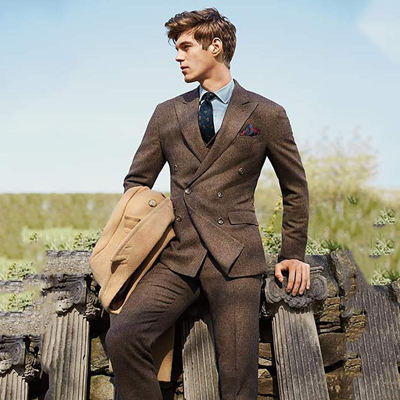 Brown Blazer Men Tweed Suit Tuxedo Jacket Men Suits for Wedding Double Breasted Suit Formal Prom with Pants Custom Made