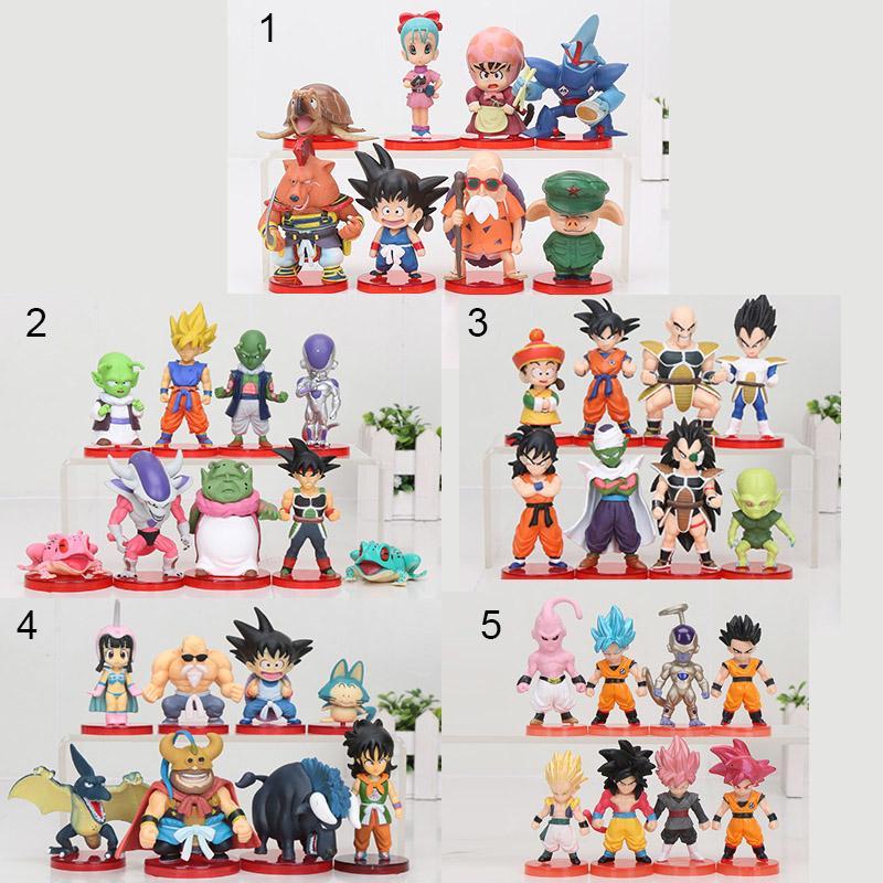 8 шт. / компл. 3-10 см Dragon Ball Z WCF Son Goku chichi DWC Gohan Piccolo Vegeta Nappa Raditz Freeza ПВХ фигурку модель игрушки MX191105