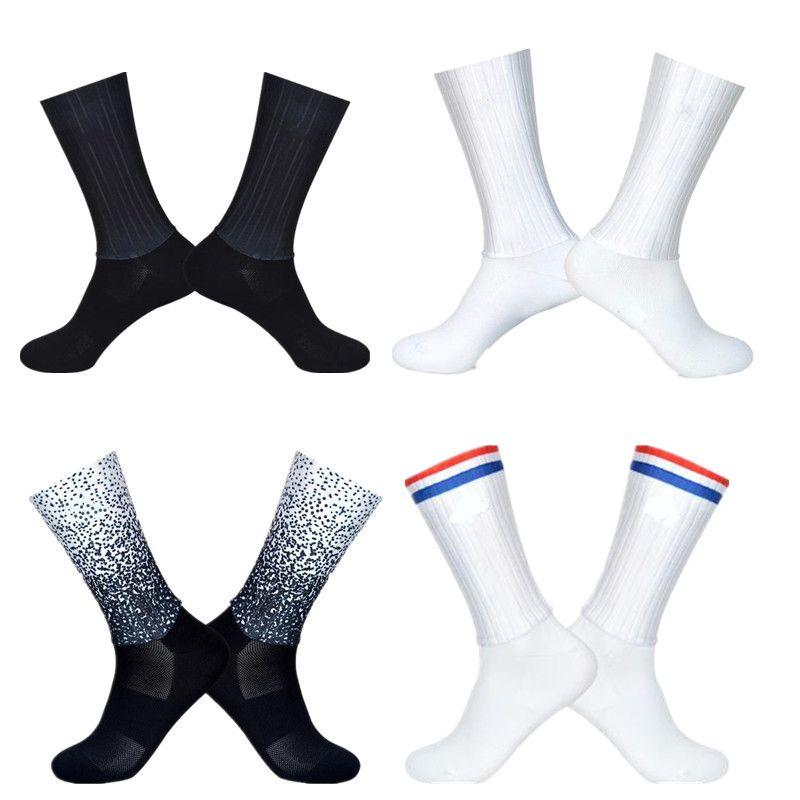 Respirable del verano Calcetines Hombres Anti Slip sin fisuras Aero bicicletas antidesgaste carretera Calcetines