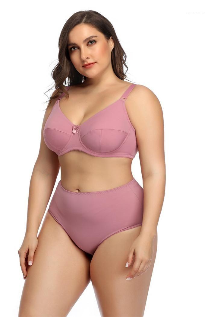 Ferretto Bow tazza piena biancheria intima femminile Tre gancio e 2PSC Set Womens Plus Size Bras Set Designer