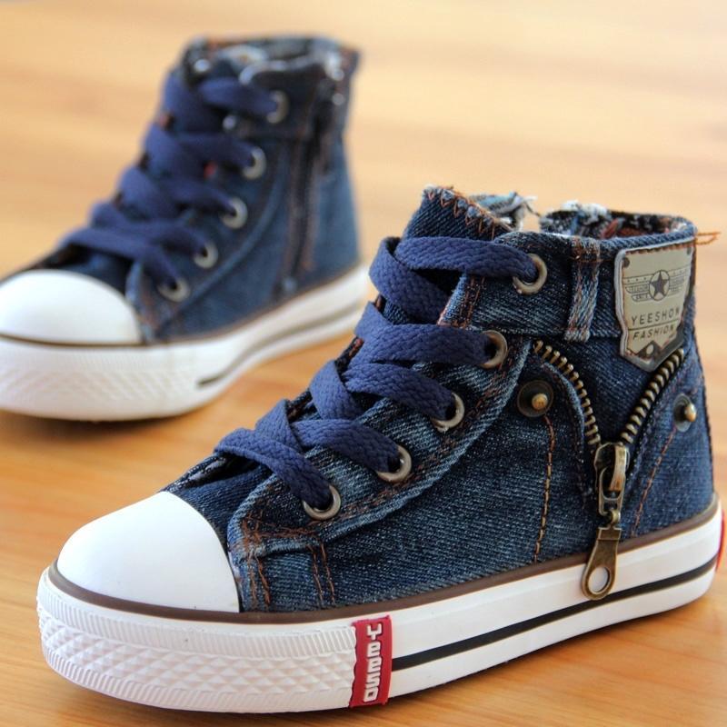14 tipi Nuovo arrivato Dimensione 25-37 bambini Scarpe per bambini di tela jeans dei ragazzi delle scarpe da tennis Flats Ragazze Stivali denim laterale della chiusura lampo scarpe T200114