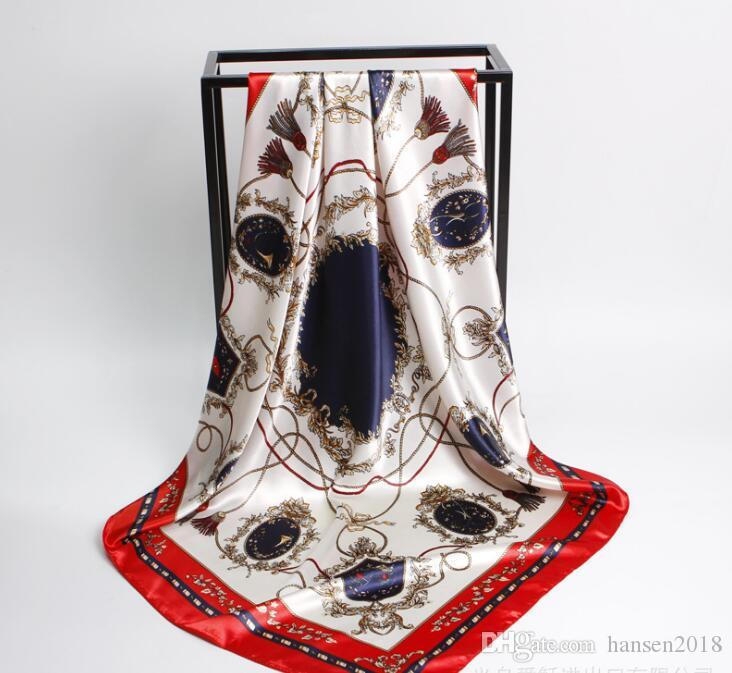 Foulard en soie de luxe pour femmes 2019 Beach Shawl et Echarpe summer Wrap foulards de designer Plus Size 90 x 90 cm female beach