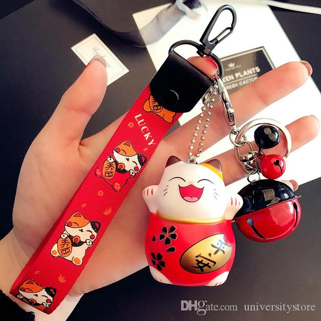 Cute Lucky Cat Dollo Keychain Fashion Bell Pendant for Women Bag Charms Ornament Phone Wristband Key Chain Car Keyrings