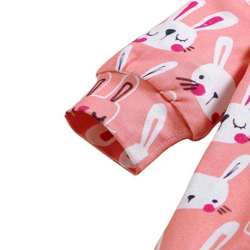Baby Girl Spring And Autumn Long Sleeve Cartoon Rabbit Print Pattern Jumpsuit+Headband Cotton Causal Outfits Romper Set