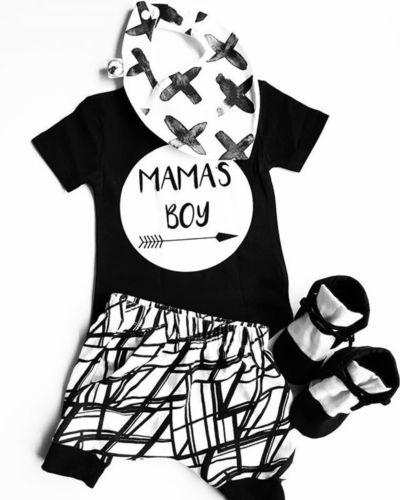 2018 Nouveau été 2Pcs bébé MAMAS garçon Tout-petit coton T-shirt noir à manches courtes Tops + Shorts Pantalons tout-petits nouveau-nés Vêtements Outfit