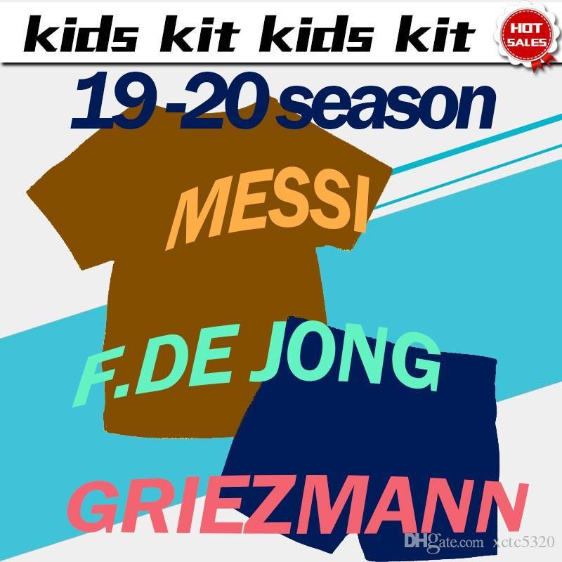 2020 crianças Kit # 10 Jerseys MESSI futebol Início 19/20 # 17 camisas de futebol GRIEZMANN # 9 SUAREZ afastado Criança definir uniformes terceiros futebol com shorts