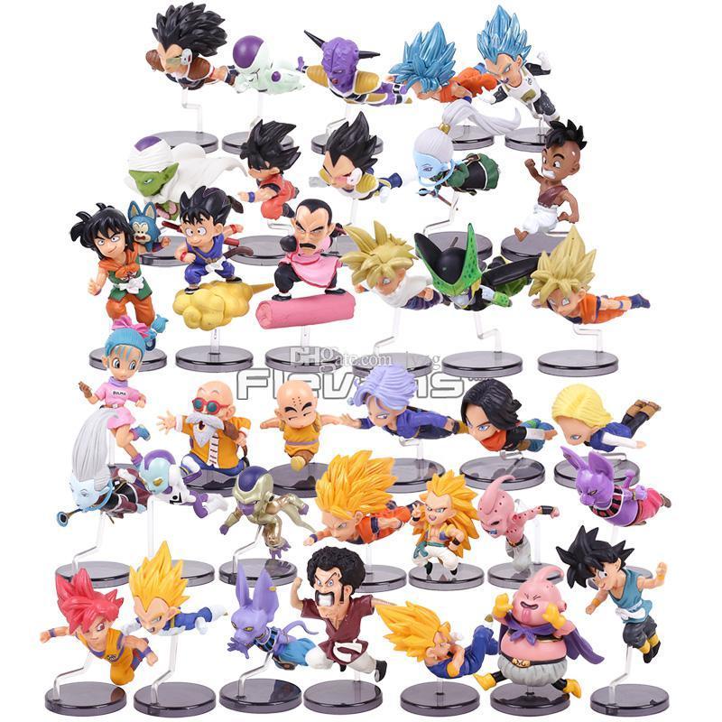 Dragon Ball Z Os personagens históricos Series 1 ~ 6 Son Goku Bulma Mestre Roshi Krillin PVC figuras colecionáveis Brinquedos 6pcs / set