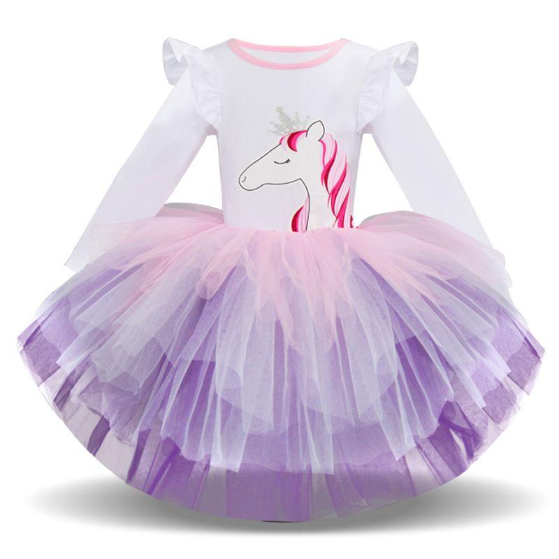 Compre Niños Niñas Vestidos Unicornio Lentejuelas Tutu Princesa Falda Impreso De Dibujos Animados De Manga Larga Patrón De Vestido De Invierno 43 A