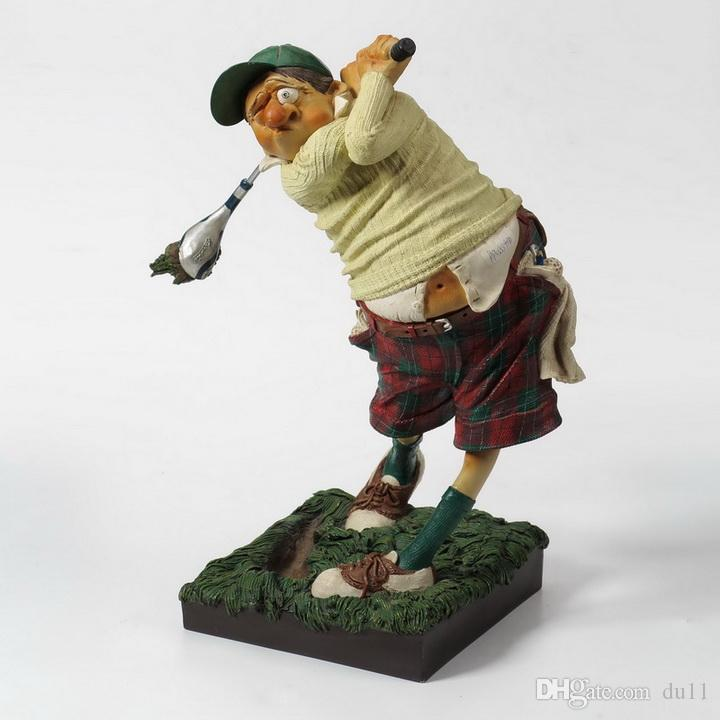 French Humor Artist Golf Player Sculpture Ornaments Gift Decoration Delicate Statue character crafts Old Master Sculpture