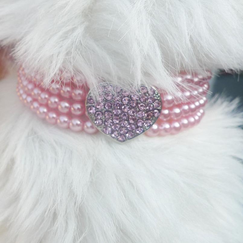 Collares de perlas en forma de corazón Collar de gato de múltiples capas rosa azul blanco Collar de perlas de imitación de lujo para accesorios para perros