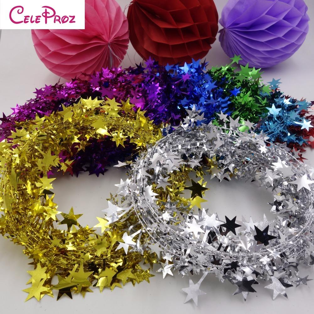 10m Gold Mini Star Tinsel Garland for Christmas Decoration
