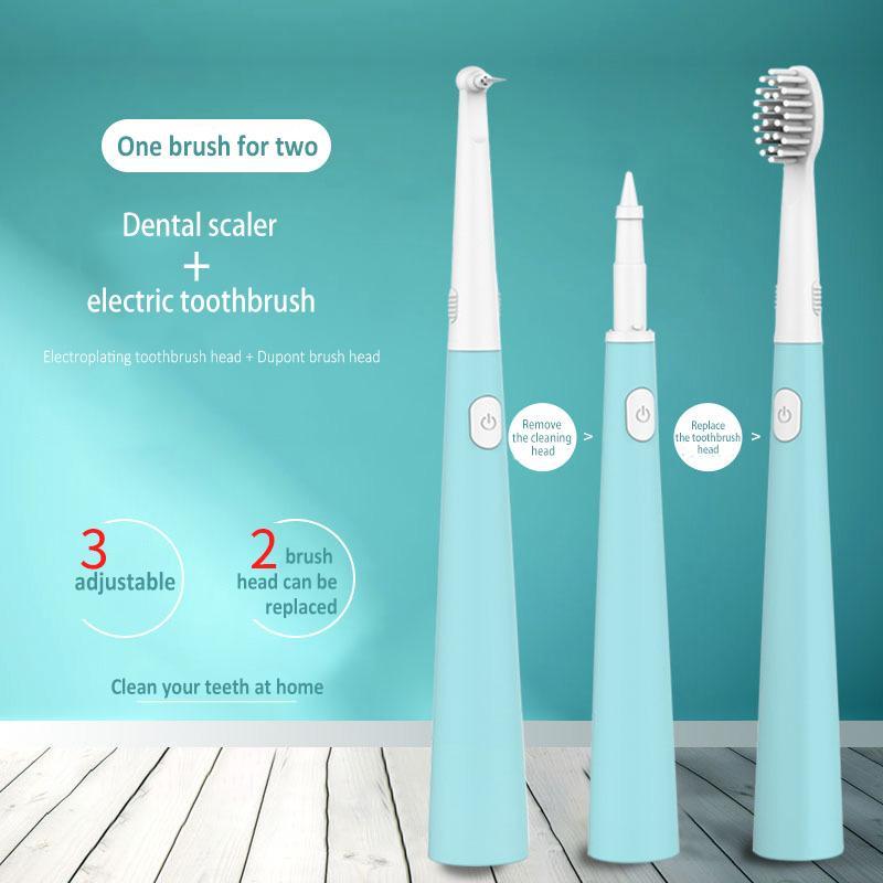 Sonic Multi-Funktions-Elektro-Zahnbürste und Zahnreinigungsmittel-Doppelt-Köpfe werden können Löschen Dental Plaque Zahnreinigung Werkzeuge Silikon ersetzt