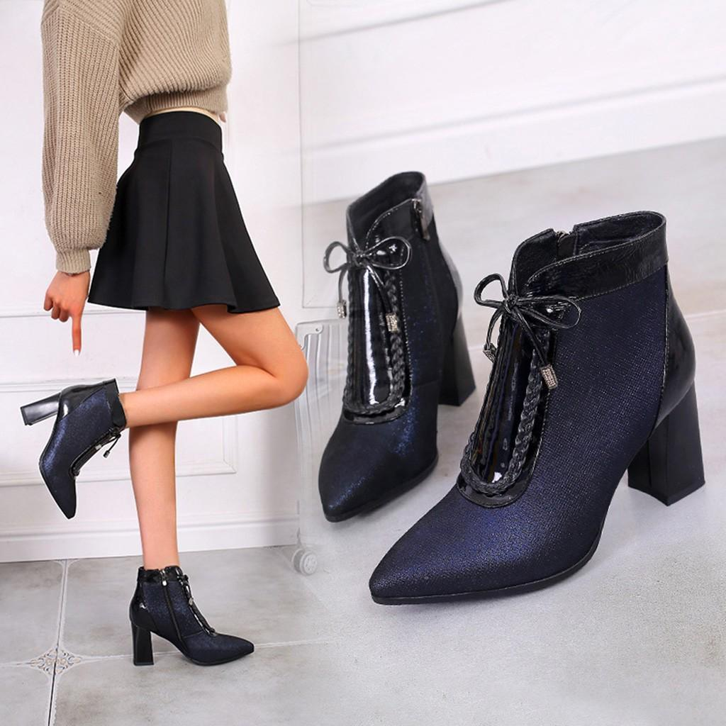 F1rst Rate Womens Elegant Faux Suede Bowknot Pointed Toe High Heel Ankle Boots