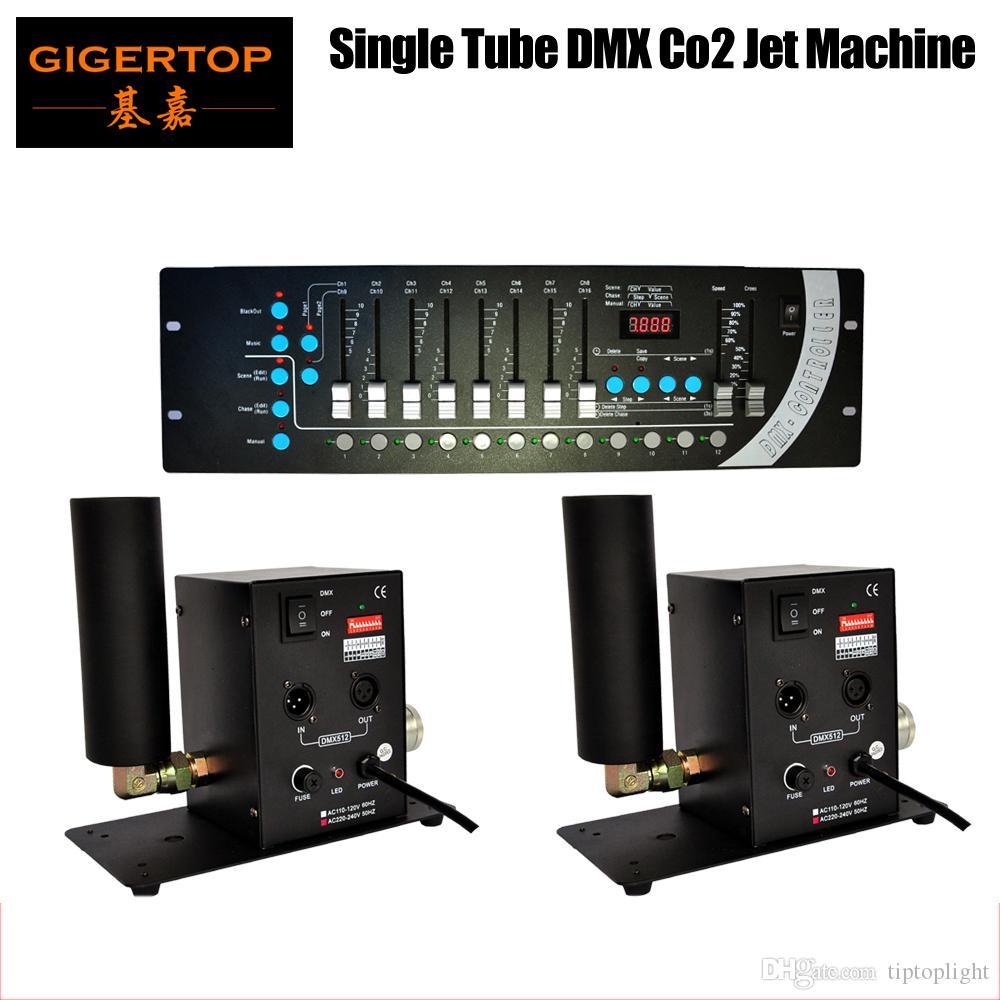 جودة عالية 2 قطعة / الوحدة أنبوب واحد co2 آلة DMX 512 + 1 قطع dmx 192 مصغرة حجر تحكم أنبوب واحد co2 آلة النفاثة مرحلة تأثير آلة