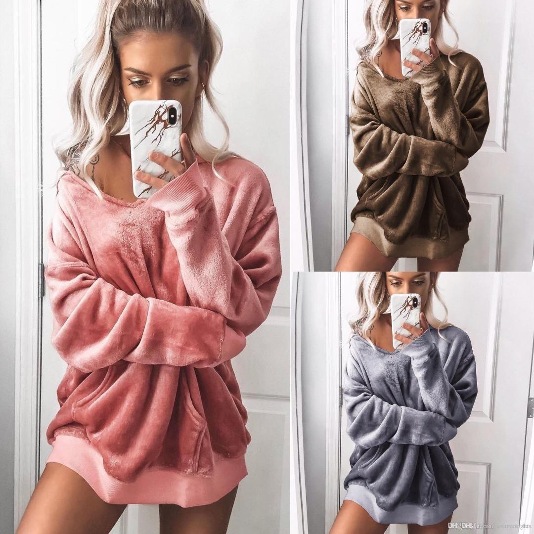 V-neck Sexy Autumn Sweatshirts Clothes Women Winter Velvet Solid Designer Hoodies