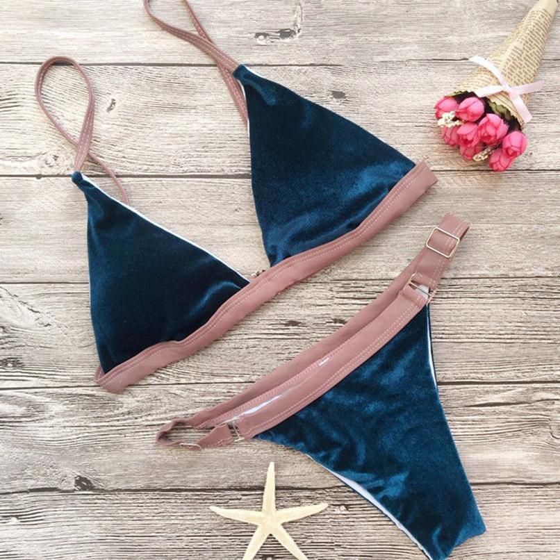 Yastıklı Push Up Bikini Seti Sıcak Kadife Plaj Mayo Mayo Mayo Beachwear Drop Shipping Womens