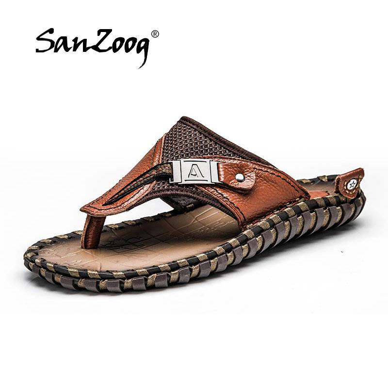 2019 Classy Men Leather Sandals Handmade Leather Slippers Soft Sole Mens Shoes,Black,8