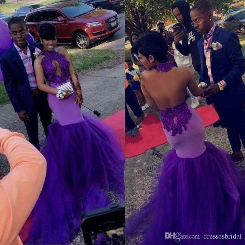 2019 robes de bal de sirène pourpres col haut robes de soirée sans dossier avec des appliques de dentelle robes de soirée sur mesure