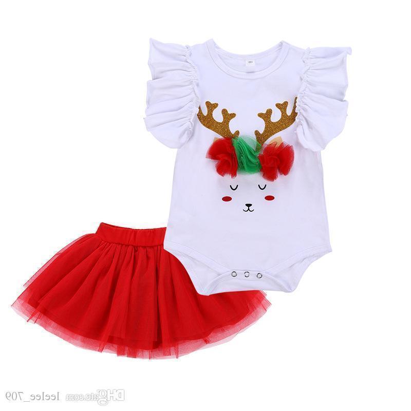 Girls Christmas Set Baby Girl Flying Sleeve Sequin Christmas Deer White Romper Red Mesh Tutu Skirt 2pcs/set H153