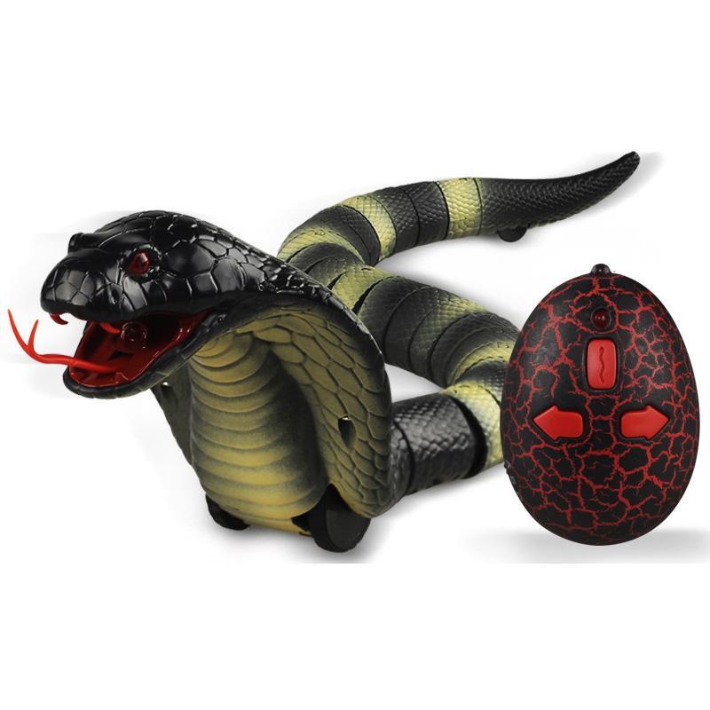 무서운 시뮬레이션 뱀 개 애완 동물 장난감 적외선 원격 제어 코바 뱀 전자 인터랙티브 개 완구 선물 애완 동물 CHIEN 용품