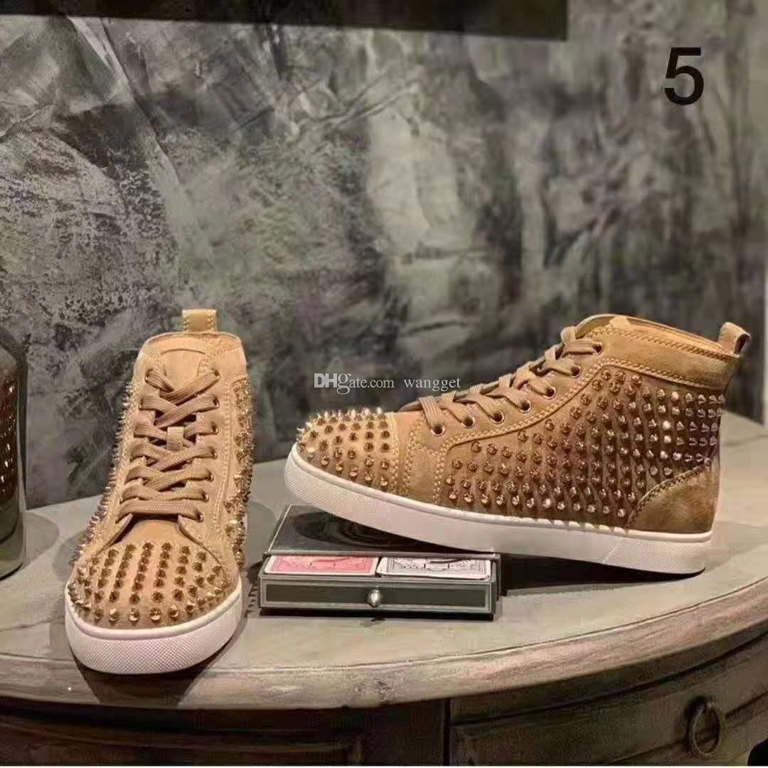 Wholesale New Full Spikes High Top Sneakers Shoes Velvet Genuine Leather Men's Red Bottom Shoes Casual Walking ,Luxury Outdoor Shoes Cheap