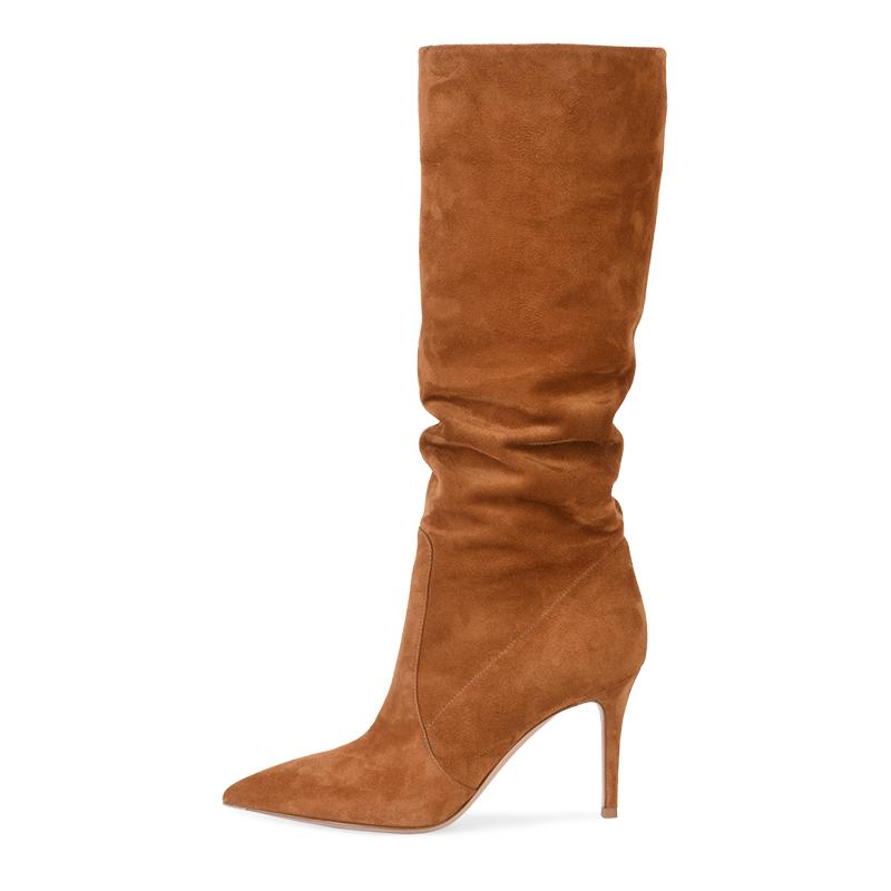 Brown gamuza sintética Rodilla Botas Slouch 2019 zapatos de las mujeres del invierno Slouchy botas largas de tacón alto Mujer reciente Camel señoras de Tall Boot