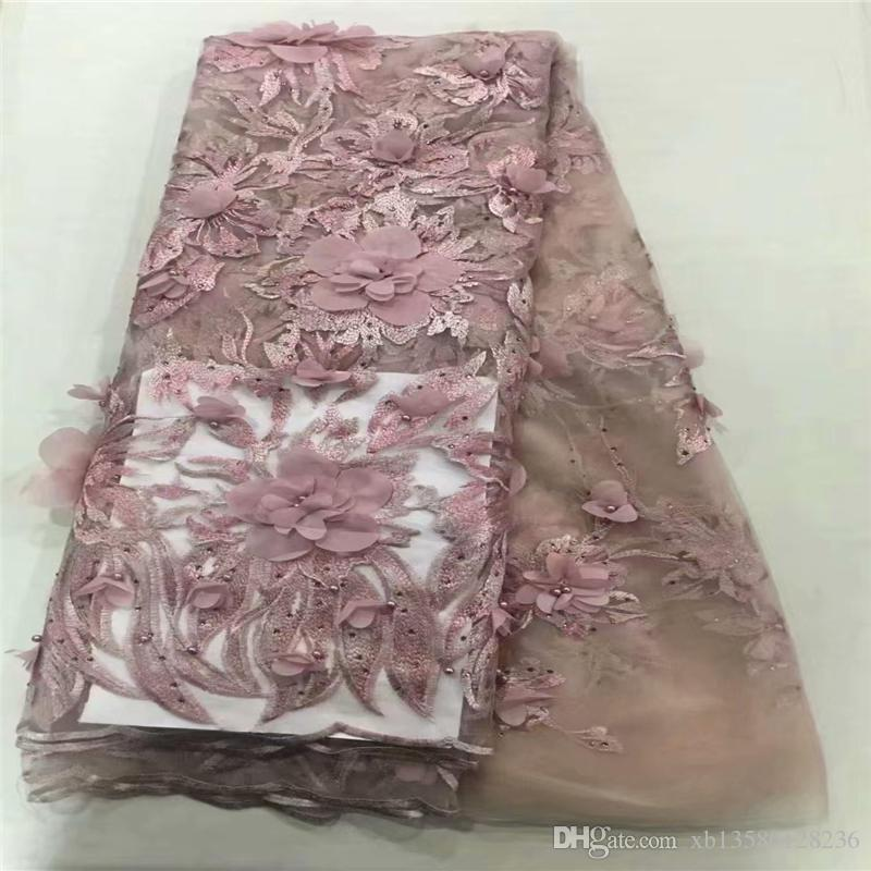 2019 Stereoscopic 3D Bead Applique African High Quality Net French Voile Guipure tulle mesh Lace Fabric For dress 5yd/lot YL0906