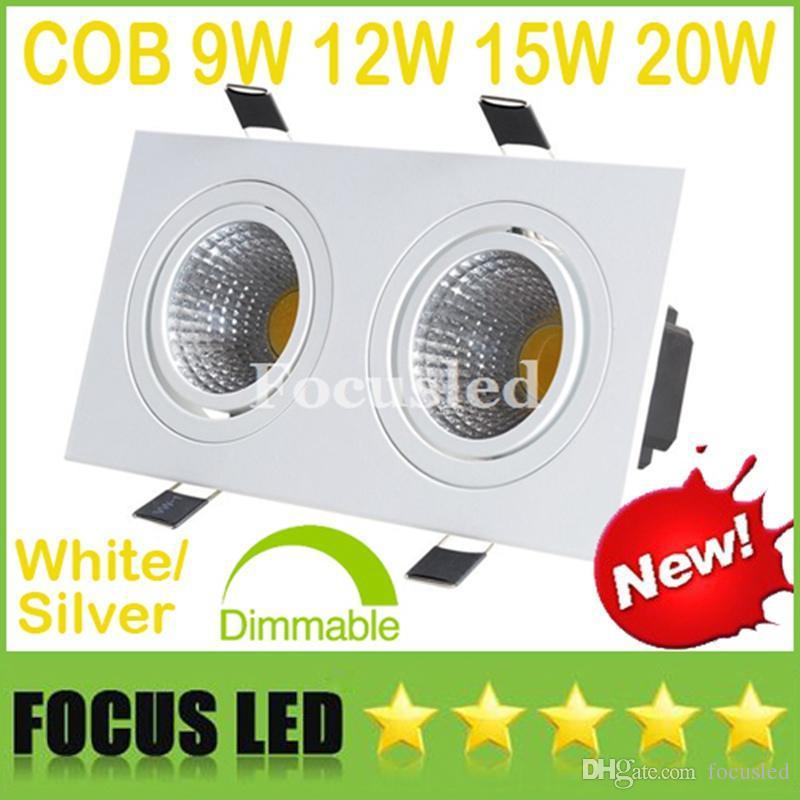 正方形の調光可能な2 *(9W 12W 15W 20W 20W)COB LEDのダウンライト18W 24W 30W 40W白/銀の傾斜可能な固定具の陥凹シーリングライトランプCE UL