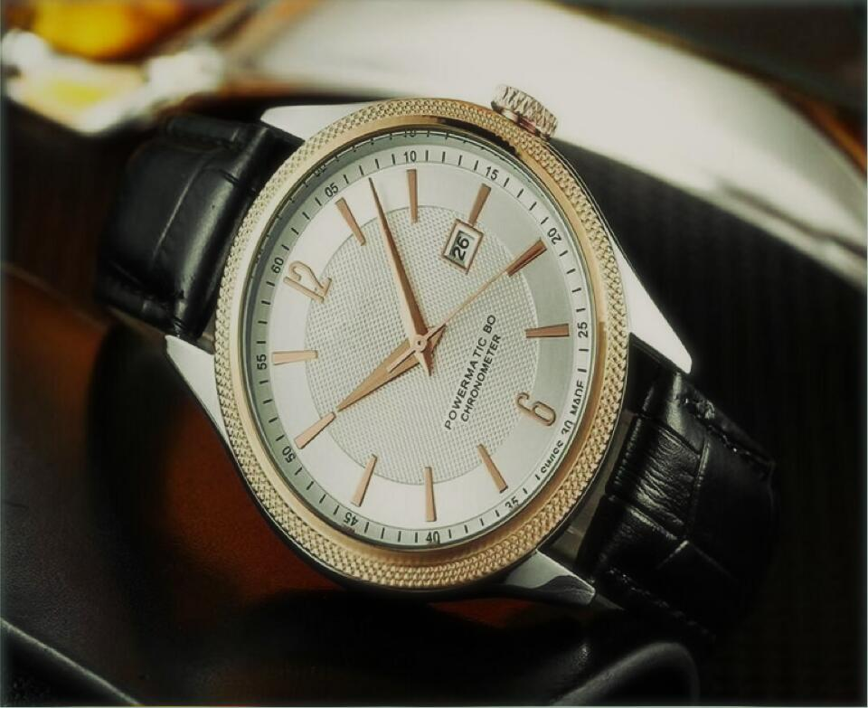 Relojes de lujo del cuarzo 42MM Con Calendario correa de cuero superior de la marca del reloj del cuarzo para los hombres de calidad mejor regalo de alta