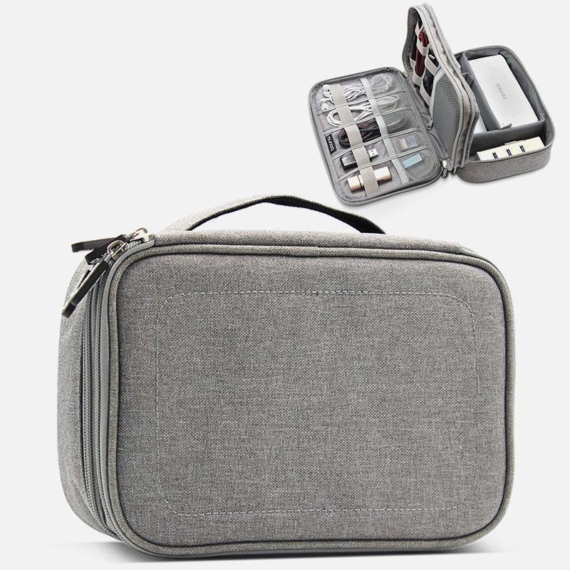 Impermeable Capa 2 del soporte USB Cable Gadget caso del recorrido del teléfono celular de carga del cargador móvil bolsa de almacenamiento Organizador electrónico digital