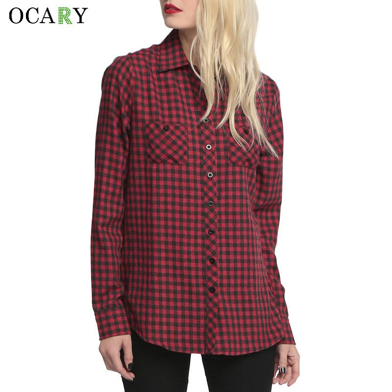 Skull Hollow Out Women Blouses Plaid Shirts Long Sleeve Blouse Spring Summer Blusas Mujer Haut Ete Plus Size XXXXL Chemise Red MX200407