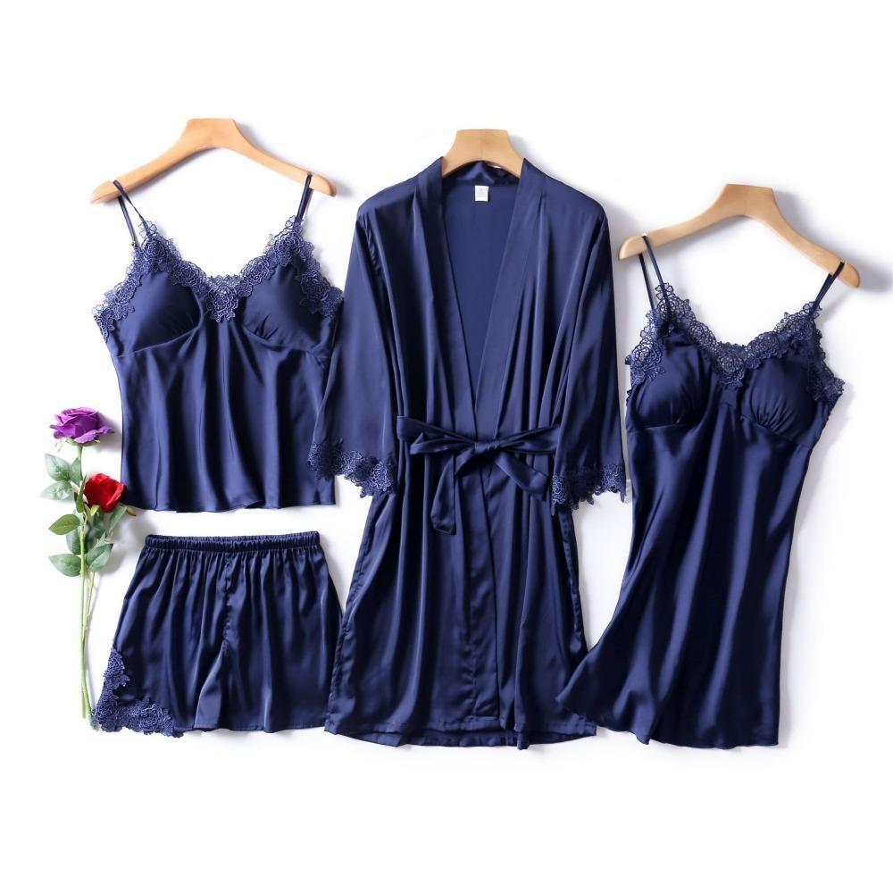 Azul marino mujeres Rayon ropa de dormir 4 piezas de manga larga pijama conjunto verano pijama Femme con cuello en v Pijama moda casa ropa J190521