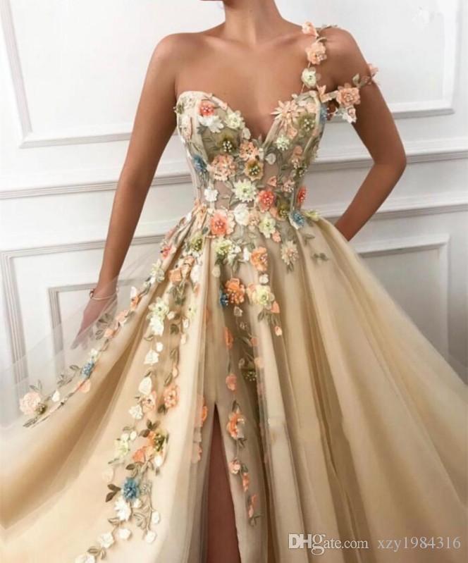 Vestidos fiesta apliques de encaje amor de la manera vestidos de noche lateral de la flor de Split cóctel vestidos del partido de longitud de envío