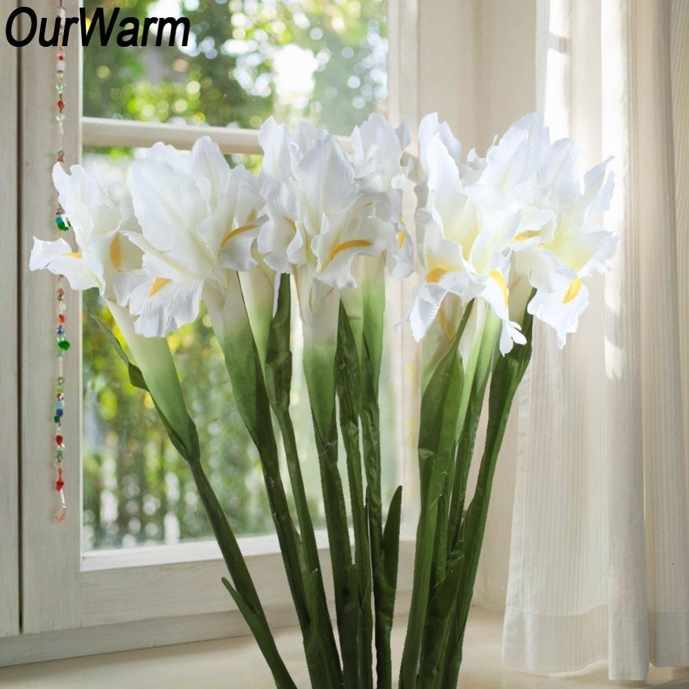 OurWarm 10pcs toque real Iris flores artificiais para 68 centímetros casamento Tecido decorativa Falso Tabela Flores Decoração Acessórios T191102