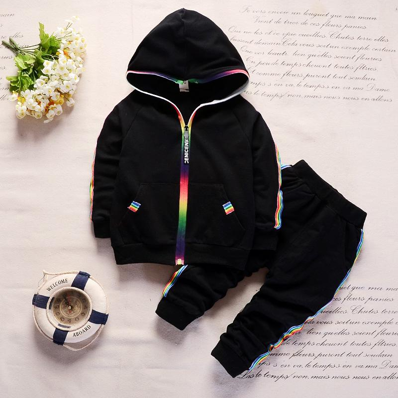 Baby Boys Sport Tracksuits Toddler Abbigliamento Set Bambini Rainbow Zipper Vestiti a maniche lunghe Giacche a maniche lunghe Fashion Cartoon Tracksuit Set Nuovo GGA3017