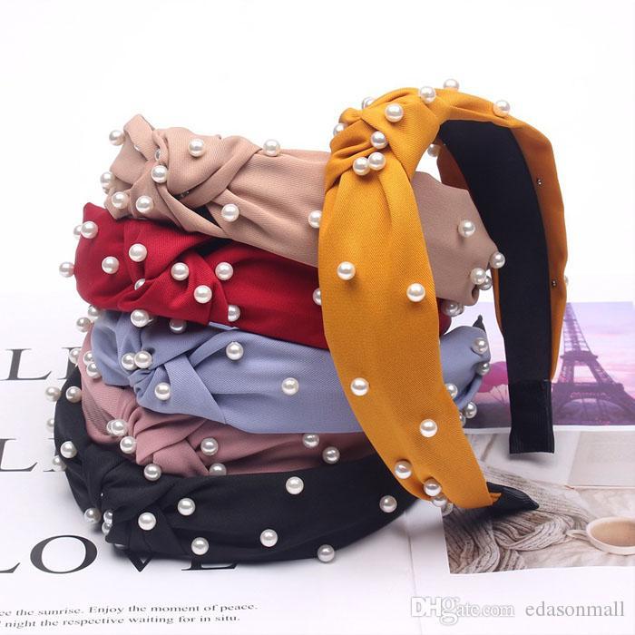 Freie DHL-Perlen geknotet Stirnbänder Weinlese-Weithaarband Mode-Haar-Zusätze für Frauen und Mädchen-Geburtstags-Geschenk-7 Styles O51FZ
