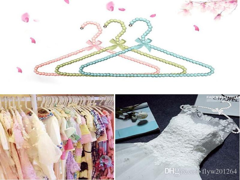 100pcs/lot Colorful White Pearl Hanger for Dresses/ Beads Adult Hanger Wardrobe Clothes Seamless Laundry Hanger