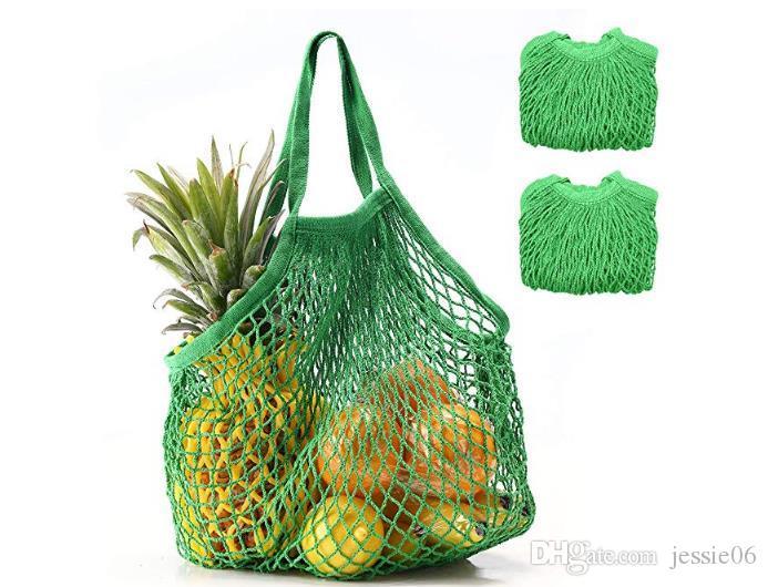 Tienda de comestibles reutilizables Juguetes de playa Bolsa de almacenamiento Bolsas de compras de malla Bolso de mano Organizador de bolsa de cuerda de algodón natural plegable Ecológico colorido