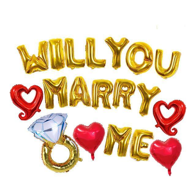 19pcs / lot Will You Marry Me Lettre Diamond Ring Ballons pour jeune mariée à être écobue douche nuptiale Proposer Décorations