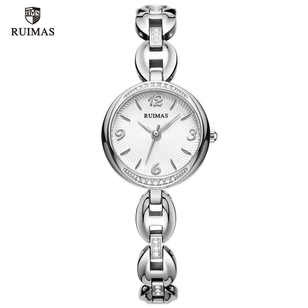 2020 RUIMAS luxo relógios de quartzo Mulheres Silver Bracelet elegante relógio de pulso Lady Mulher Waterproof Assista relojes de lujo para mujeres 596