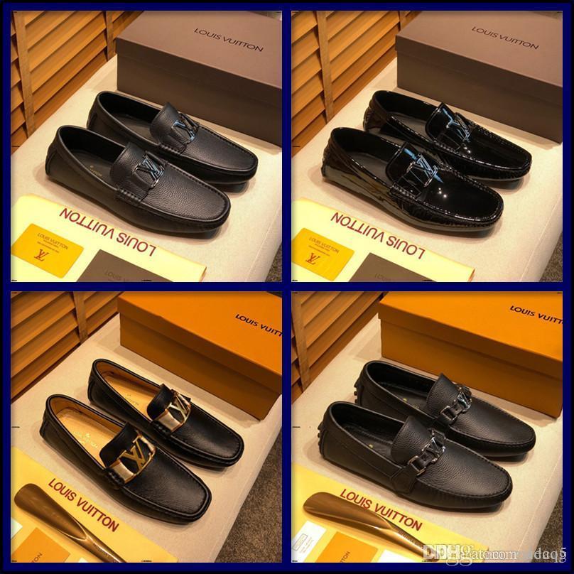 21FF echte Leder-Männer Freizeitschuh Luxusmarke Herren Loafers Mokassins breathable Beleg auf Schwarz Driving Schuhe CQZX5