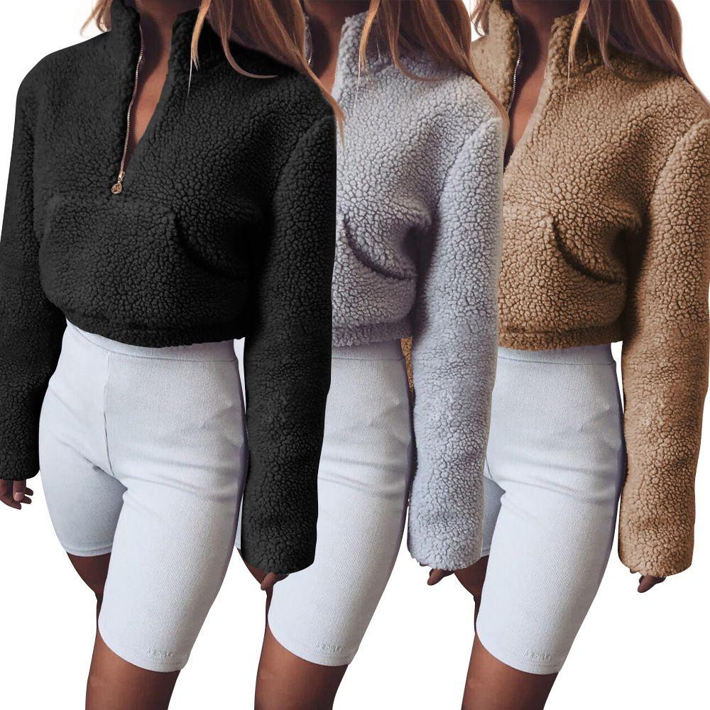 New Mulheres Moda 2018 Quente Outono Inverno Cinzento Preto Hoodies Sólidos Cortar Kawaii camisola Femme Top Casual manga comprida Zipper T200618