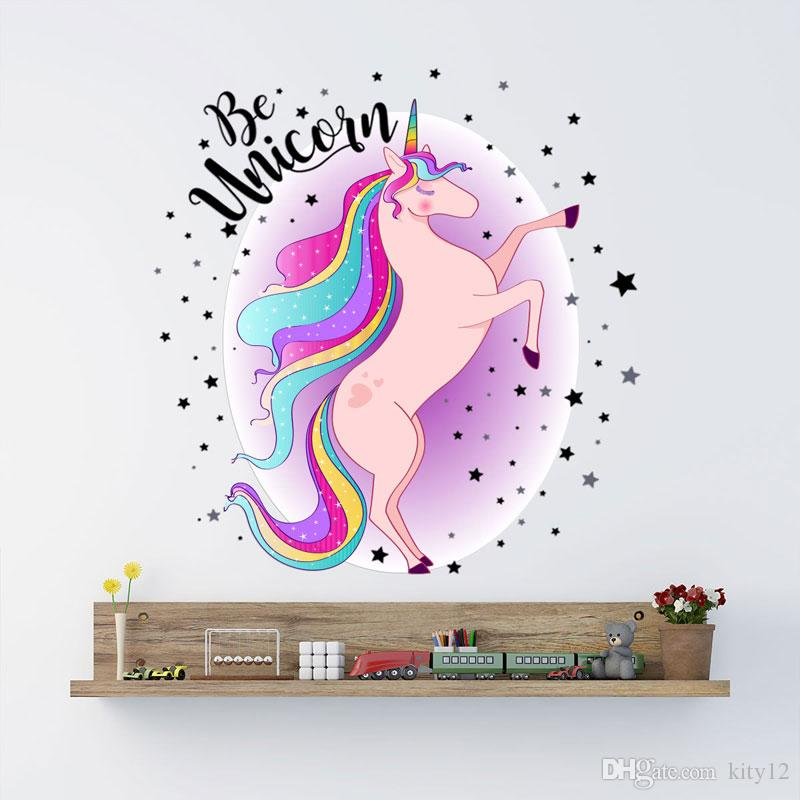 Cute Unicorn Wall Stickers Animals Horse Stars Wall Decals For Kids Girls Room Wallpaper Home Décor Free Shipping