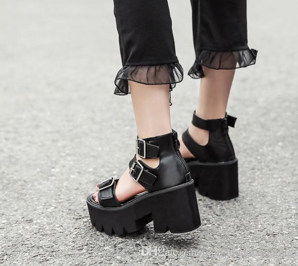 Women Sandals Open Toe Platform Shoes High Thick Heels Female Black Unique Party Shoes 35-40,Black,8.5